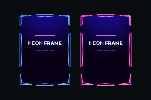 Modello di cornice al neon tema moderno streaming pannello schermo sovrapposizione gioco live video streaming online
