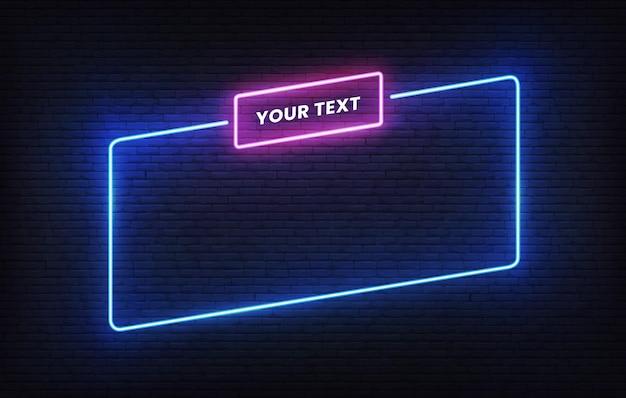 Modello di cornice al neon con segnaposto. modello di progettazione banner luce blu inclinazione. insegna rettangolare incandescente.