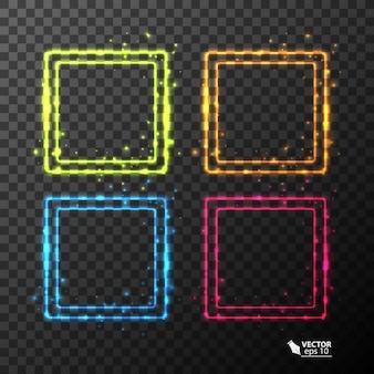 Cornici al neon con effetto luce di colore diverso su sfondo trasparente