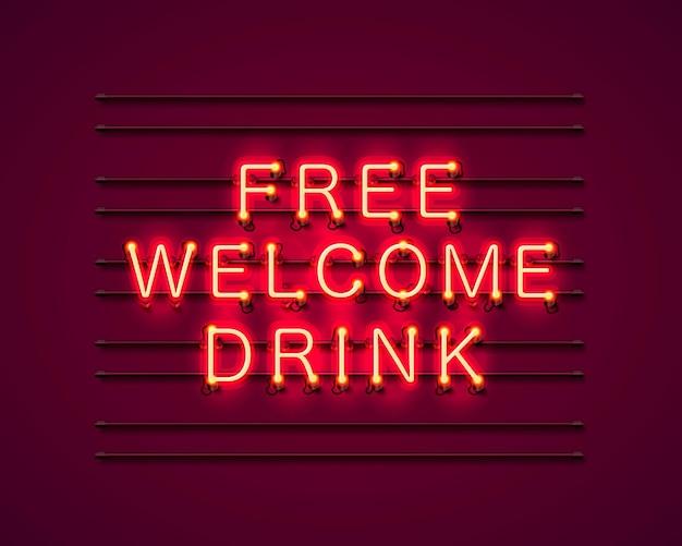 Testo rosso del drink di benvenuto gratuito al neon. illustrazione vettoriale