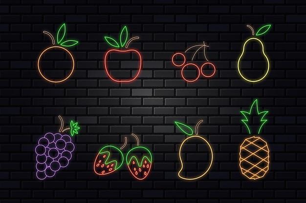 Collezione di frutti al neon