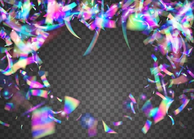 Scintillio al neon. luce solare colorata in metallo. trama di bokeh. arte moderna. scintille arcobaleno. abbagliamento laser viola. foglio di lusso. volantino discoteca. glitter neon viola