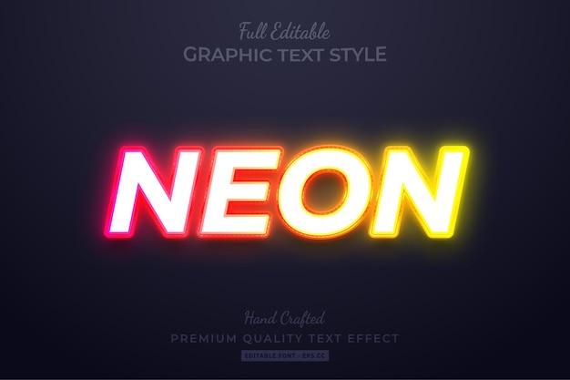 Effetto di stile di testo personalizzato modificabile al neon bagliore premium
