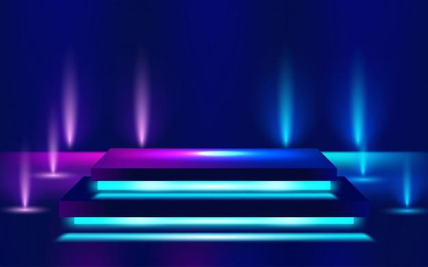 Linee luminose al neon, concetto di luce spazio energia magica. illustrazione