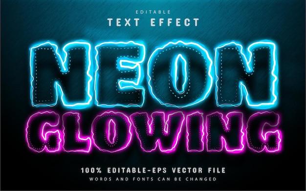 Effetto di testo luminoso al neon