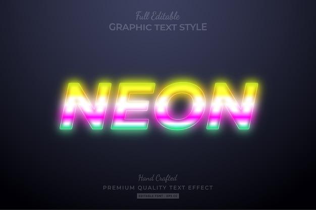 Effetto stile testo modificabile sfocatura al neon premium premium
