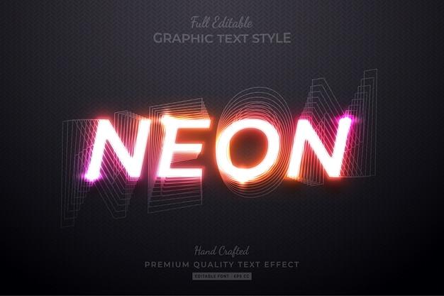 Effetto di stile di testo personalizzato modificabile con sfumatura al neon premium