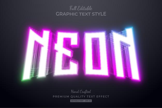 Stile carattere effetto testo modificabile sfumato al neon