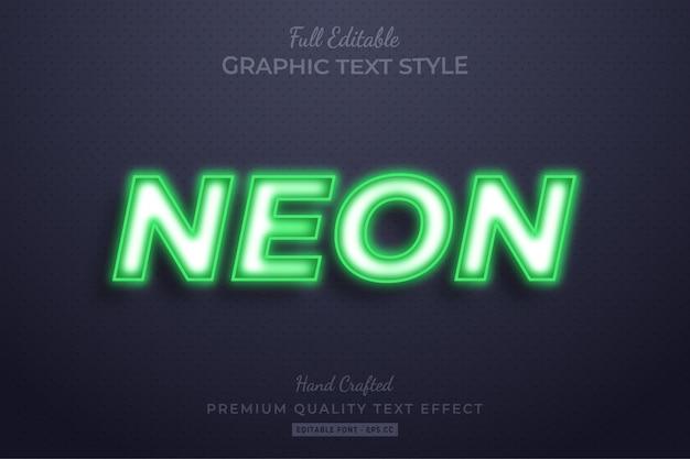 Effetto di stile di testo 3d modificabile al neon verde premium
