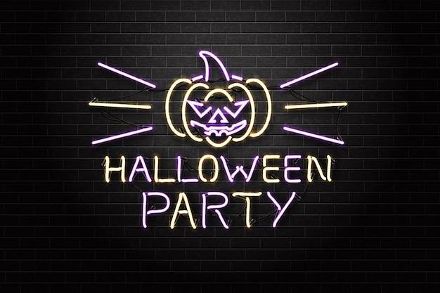 Segno di halloween al neon con la zucca