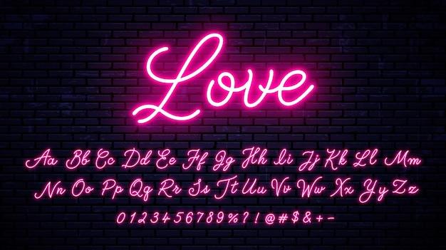 Carattere scritto a mano al neon con numeri e simboli.