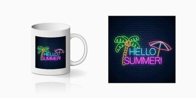 Stampa al neon felice estate con scritte, palme e ombrellone per il design della coppa. simbolo estivo lucido