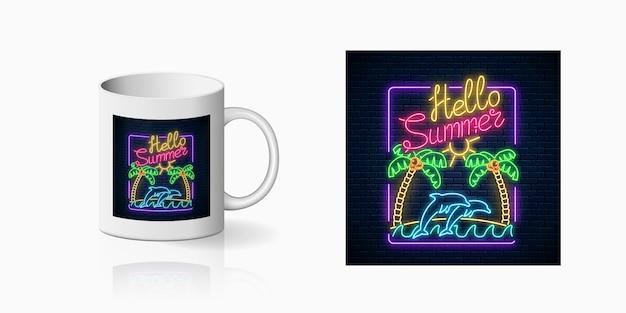 Neon felice estate stampa con palme, sole, isola, delfini nell'oceano e testo per il disegno della tazza. design estivo