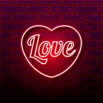 Cuore al neon sul muro di mattoni, illustrazione di vettore eps 10.