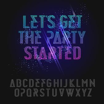 Alfabeto del partito di vacanze al neon