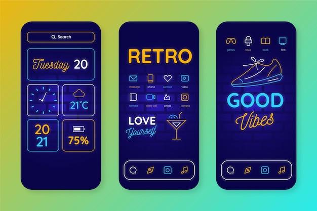 Modello di schermata iniziale al neon per smartphone