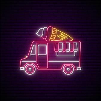 Insegna al neon del camion dei gelati