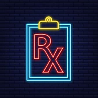 Icona al neon modulo di prescrizione rx vuoto. illustrazione di riserva di vettore.