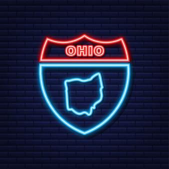 Mappa dell'icona al neon dello stato dell'ohio dagli stati uniti d'america. illustrazione vettoriale.