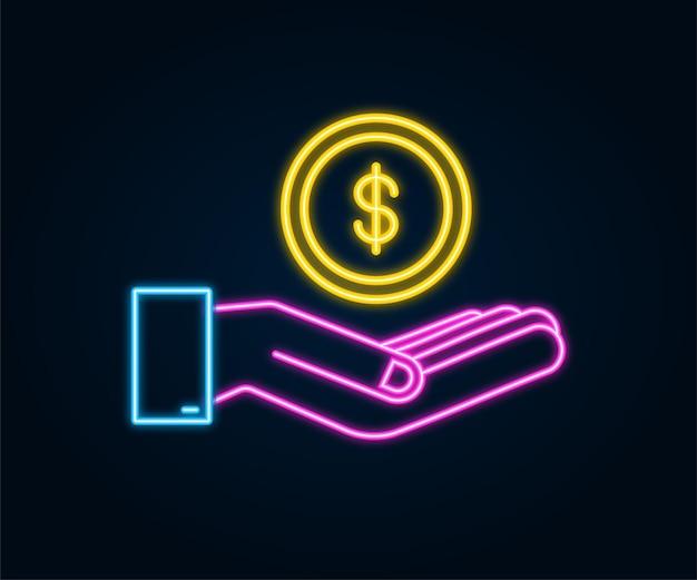 Icona al neon con mano d'oro con moneta da un dollaro per il concept design vettore semplice