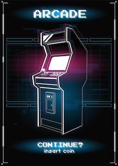Illustrazione al neon della macchina da gioco arcade. .