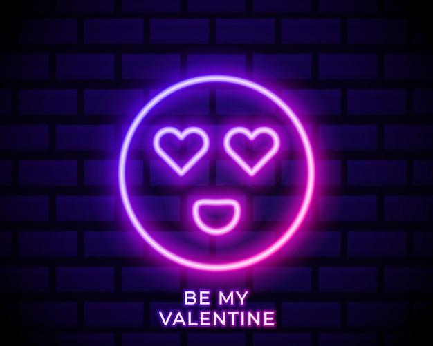 Illustrazione al neon di emoji innamorati.