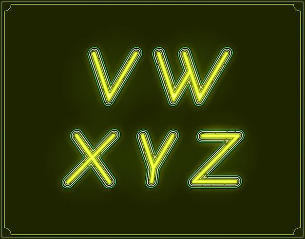 Alfabeto di tipo di carattere corsivo al neon. incandescente.
