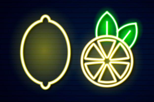 Limone al neon su un'illustrazione vettoriale di un muro di mattoni