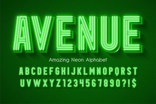 Alfabeto 3d di luce al neon, tipo moderno extra luminoso. controllo del colore del campione.