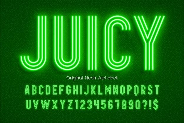 Alfabeto 3d di luce al neon, tipo moderno extra luminoso.