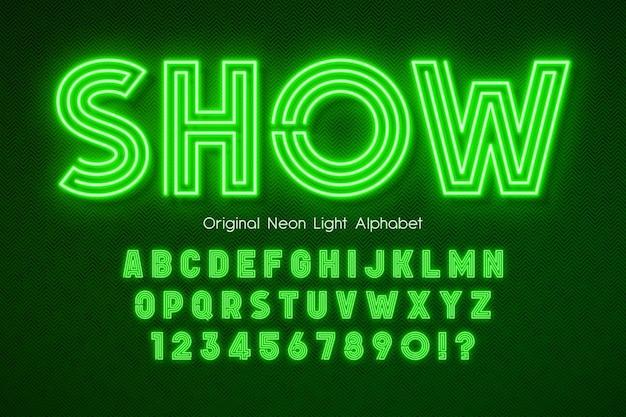 Alfabeto 3d con luce al neon, tipo moderno extra luminoso.