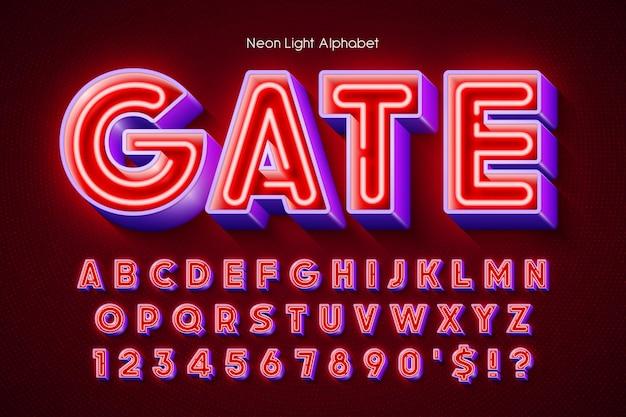 Alfabeto 3d con luce al neon, tipo originale extra incandescente. controllo del colore del campione.