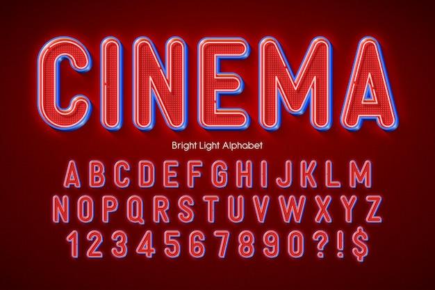 Alfabeto 3d con luce al neon, tipo originale extra incandescente.