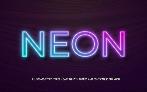 Modello di effetto di stile modificabile di testo 3d di luce al neon