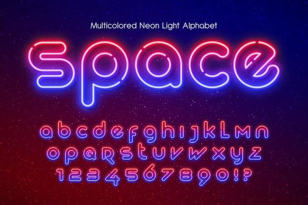 Alfabeto di luce al neon, tipo futuristico extra incandescente. controllo del colore del campione.