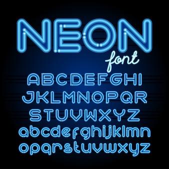 Fonte di alfabeto di luce al neon. lettere del tubo al neon su sfondo scuro. set maiuscolo e minuscolo