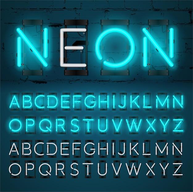 Alfabeto di luce al neon incandescente design effetto testo