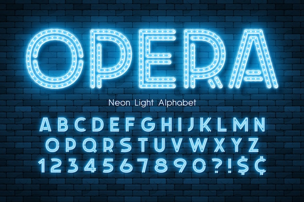 Alfabeto di luce al neon, carattere extra luminoso a led.