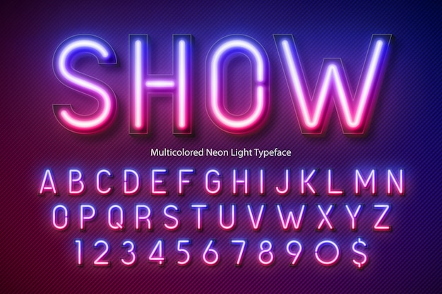 Alfabeto di luce al neon, carattere incandescente extra multicolore