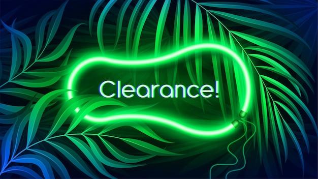 Banner con luce al neon in colore fluorescente