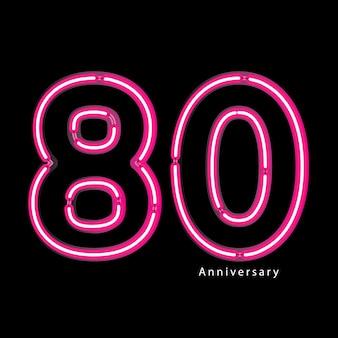 Effetto luce al neon 80 ° anniversario