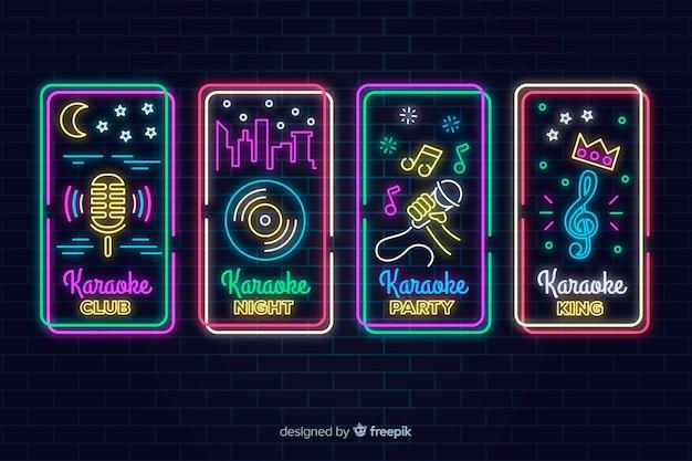 Collezione di segno karaoke luce al neon Vettore Premium
