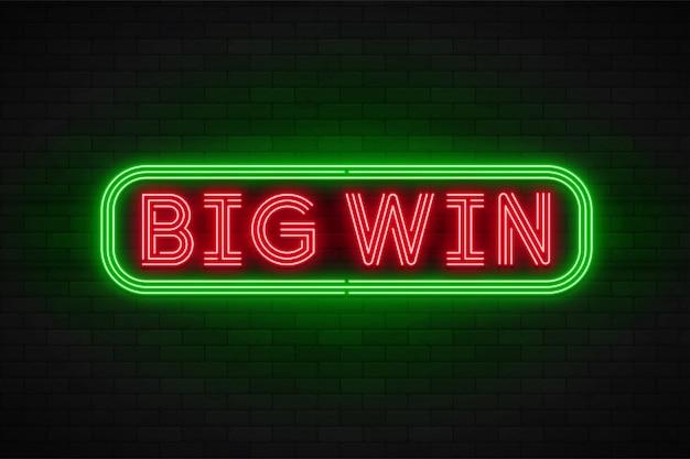 Banner di promozione lineare al neon, jackpot, gioco, grande vittoria.