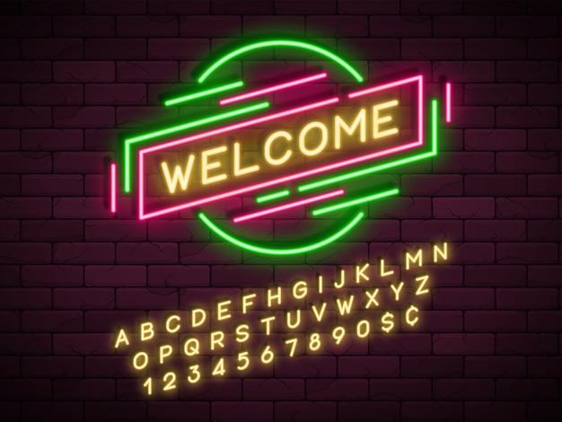 Banner di promozione lineare luce al neon, prezzo, sconto