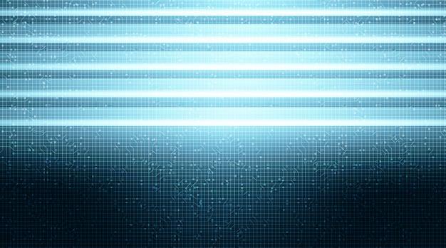 Microchip luce al neon su sfondo tecnologico, digitale hi-tech e concetto di sicurezza