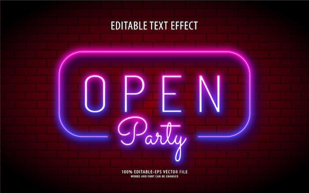 Festa aperta effetto stile testo luce al neon