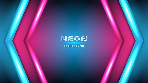 Le luci al neon mettono in scena il fondo con le forme della freccia