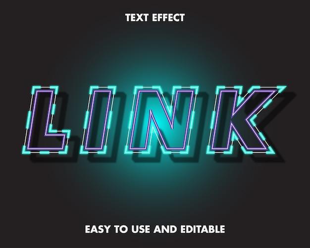 Effetto di testo di collegamento al neon. stile carattere modificabile.