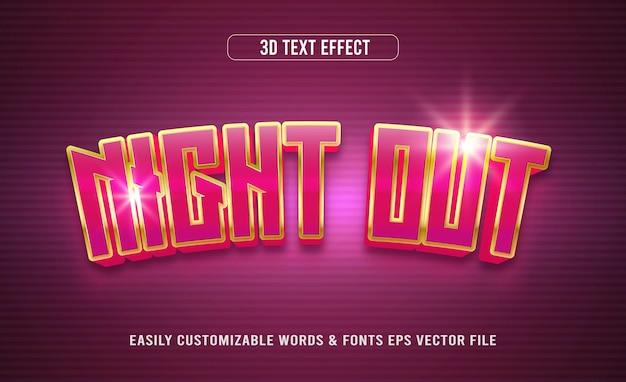Effetto di testo modificabile 3d di notte al neon