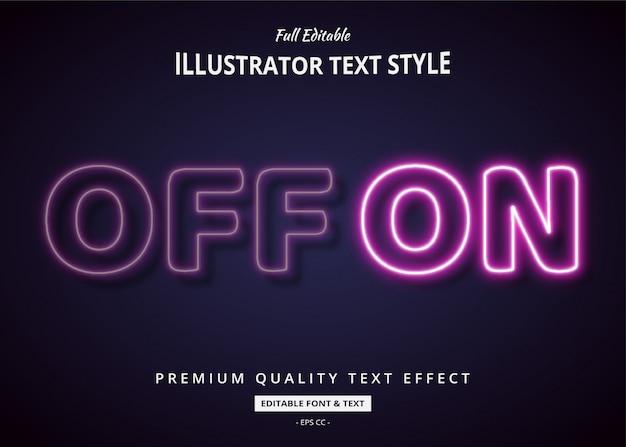 Neon spento su effetto di stile del testo 3d